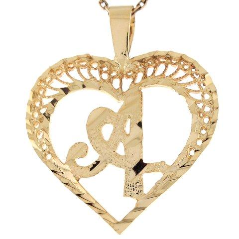 14ct Or Superbe Pendentif Coeur Avec Initial Lettre A En Filigrane 2.92cm