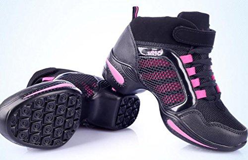 Abby 992b Delle Donne Basso-alto Jazz Quadrato Moderno Hip-hop Pratica Danza Punta Rotonda Lace Up Scarpe Sneakers Piatte Rosa (metà Superiore)