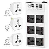 Yubi Power Power Strip w/ 6 Universal Sockets & 4 USB Ports - 100v - 220v / 250v - Surge Protection - Circuit Breaker + 3 Travel Adapter Plugs - Type B /C/ G / I
