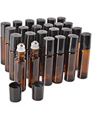 24 Pack,10 ml Amber Glass Roller Bottle Bottles with Removable Stainless Steel Roller Ball.Designed for Essential Oil,Perfume Oils and Mosquito repellent liquid.