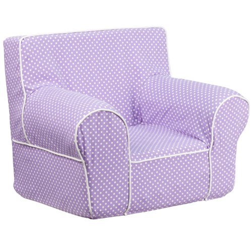 Anywhere Chair (Flash Furniture Small Lavender Dot Kids Chair with White Piping)