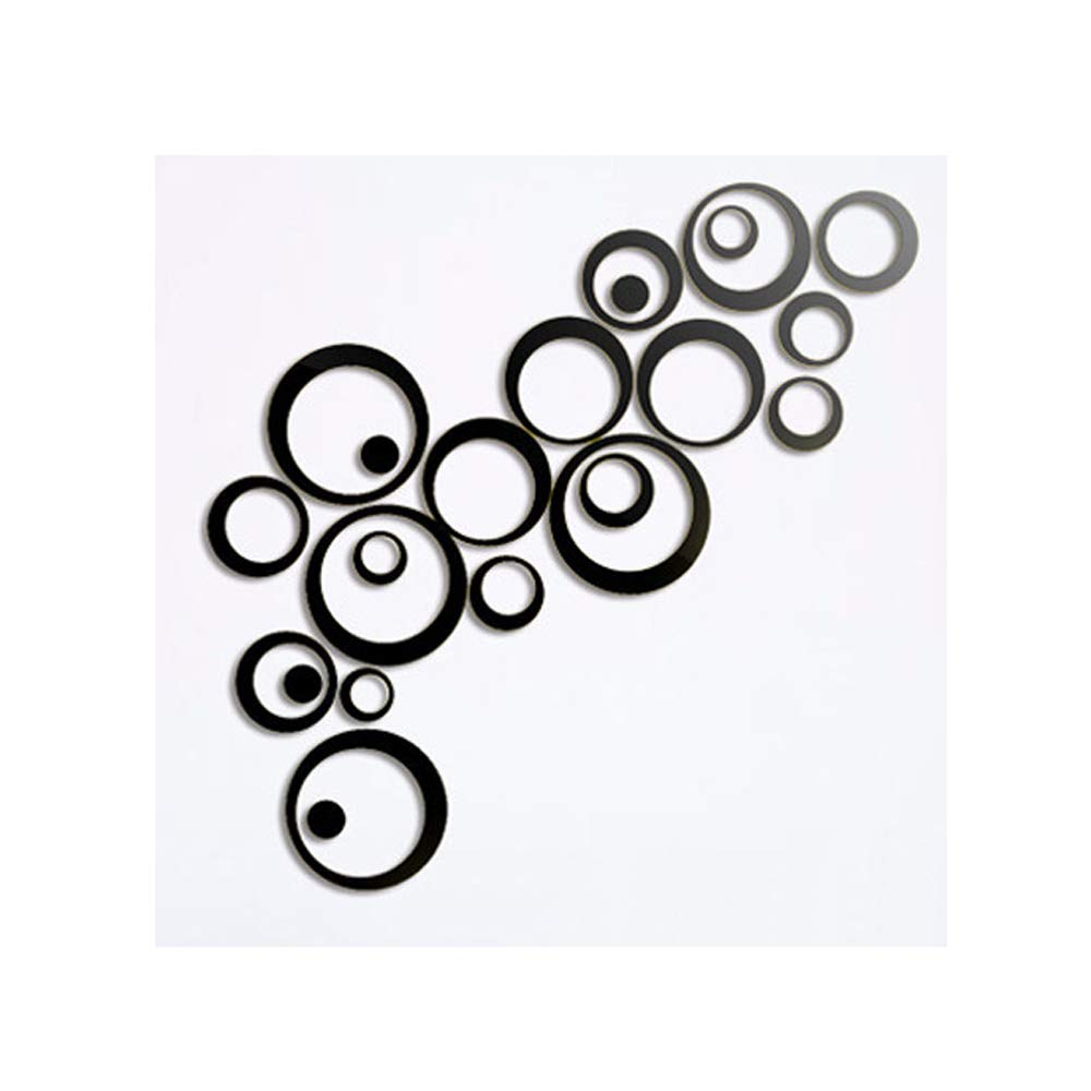 Alrens(TM)Black 23Pcs Circles Rounds Mirror Surface Modern Creative