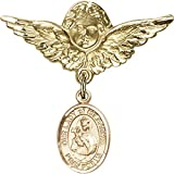 Gold Filled Baby Badge with Our Lady of Mount Carmel Charm and Angel with Wings Badge Pin