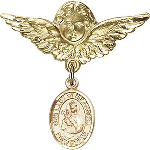 Gold Filled Baby Badge with Our Lady of Mount Carmel Charm and Angel with Wings Badge Pin by Unknown