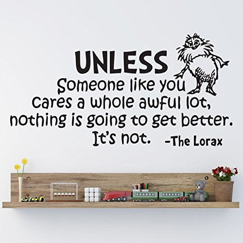 letters wall decor stickers Dr Seuss The Lorax Unless Someone Nursery Wall Art Vinyl Sticker Decal -