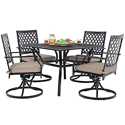 MF Studio 5 Piece Metal Patio Table and Chairs Sets