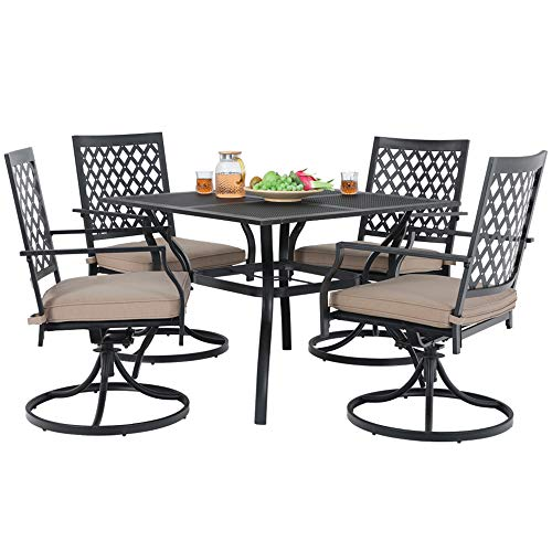 MF Studio Metal Patio Club Bistro Bar Sets Swivel Dining Rocker Chair with 2.7″ Thick Cushions and Larger Square Table Furniture, Steel Frame, Set of 5