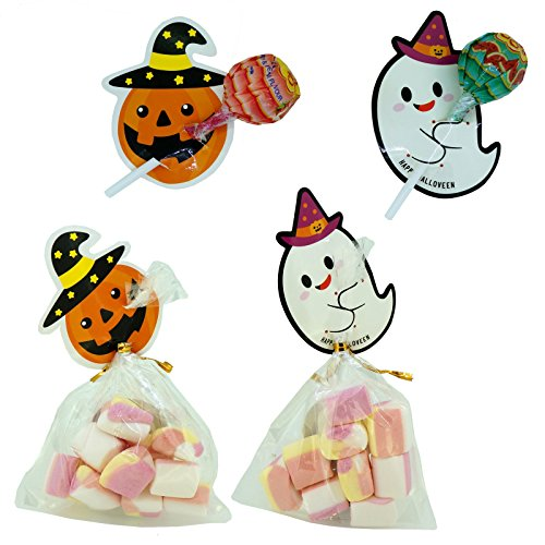 Halloween Tag (Halloween Pumpkin / Ghost Tags with Cello Trick or Treat Bags for Lollipop Cookie Candy Baking Packaging, Pack of 48, 2 Mix Designs)