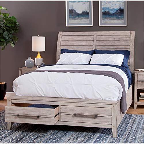 American Woodcrafters Aurora Whitewashed Queen Sleigh Storage Bed