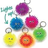 Baker Ross Light-Up Squeezy Hedgehog Keyrings (Pack of 6) For Party Bag Fillers