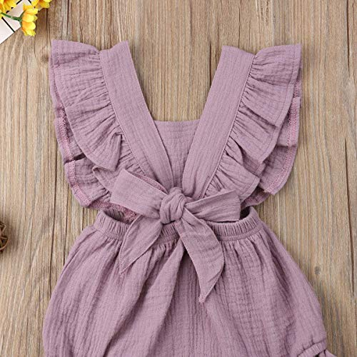 Infant Baby Girl Bodysuit Sleeveless Ruffles Romper Sunsuit Outfit Princess Clothes (Purple, 12-18 Months) by C&M Wodro (Image #4)