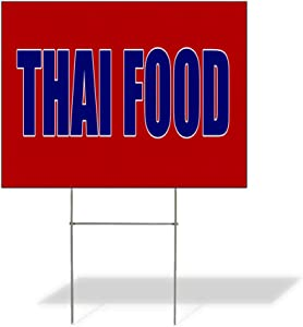 Weatherproof Yard Sign Thai Food (Red Blue) Fair Business Red Lawn Garden 24x18 Inches 2 Sides Print