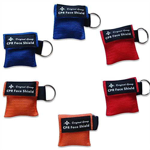 - 100-Pack CPR Masks Keychain Ring CPR Face Shields Pocket Mask - Mini Portable CPR Rescue Mask with One-way Valve Breathing Barrier for First Aid or AED Training, Easy to Carry (Multicolor)