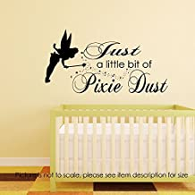 Tinkerbell Fairy Wall sticker Pixie Dust Quote Nursery Room Decor Removable vinyl Wall Decals