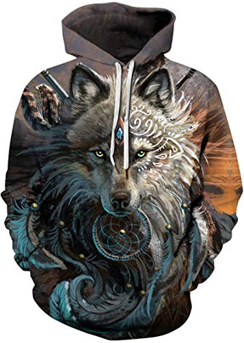Pandolah Men's Athletic 3D Animal Cosmic Galaxy Printed Hoodies Sweatshirts Pullover(King ()
