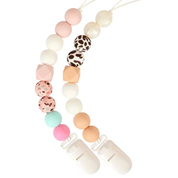 Silicone Pacifier Clip by LcyKohn Relief Teether Toy Soothie Teething Chewbeads Universal Holder Leash for Pacifier Birthday Shower Gift 2 Pack(Beige Small Floral Leopard Print)