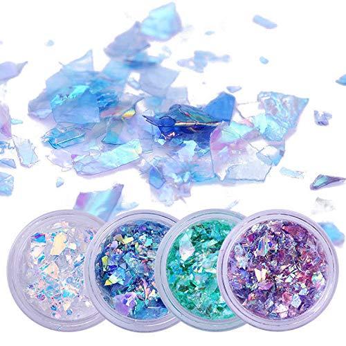 - 2 Boxes Nail Glitter Sequins Flakies Fluorescent Glass Paper Paillette Nail Art (Style - 4 Colors)