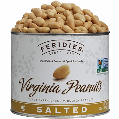 (FERIDIES Salted Super Extra Large Virginia Peanuts - 40oz Tin, NonGMO, OU Kosher, Cholesterol Free)