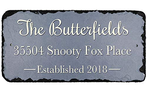 (Sassy Squirrel Beautifully Handcrafted and Customizable Slate Home Address Plaque (12