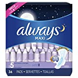 Always Maxi Feminine Pads for Women, Size 5, Extra Heavy Overnight Absorbency, with Wings, Unscented, 36 Count- Pack of 4 (144 Count) (Package May Vary)