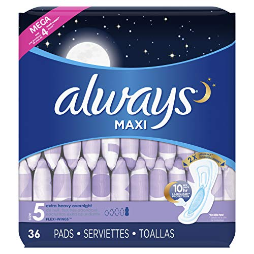 Always Maxi Feminine Pads for Women, Size 5, Extra Heavy Overnight Absorbency, with Wings, Unscented, 36 Count- Pack of 4 (144 Count) (Package May Vary) ()