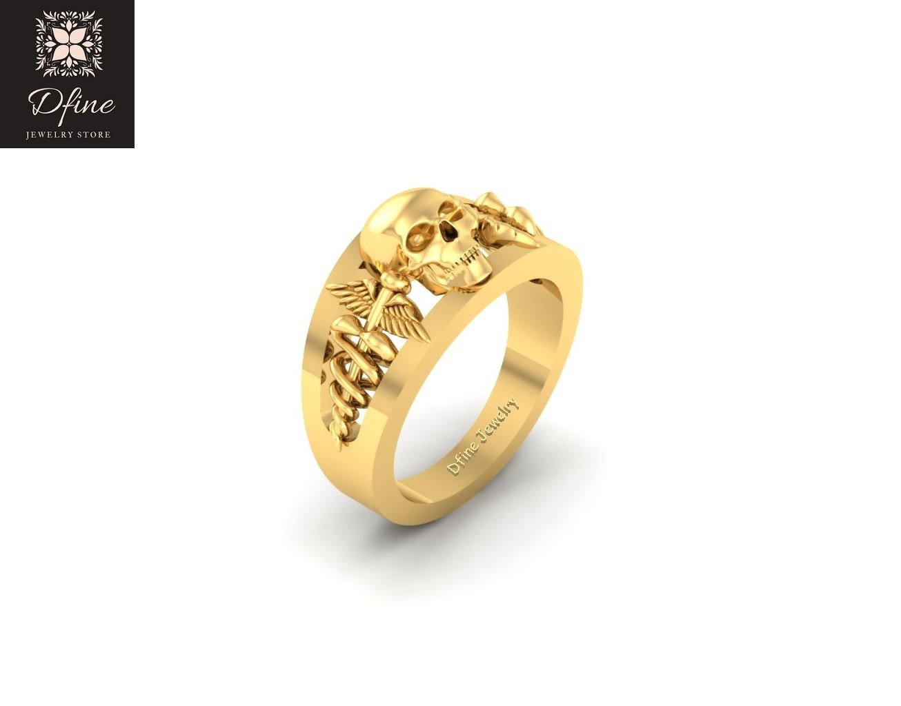 2f46ab8704450 Amazon.com: Gothic Deathly Skull Wedding Band Snake and Wings Doctor ...