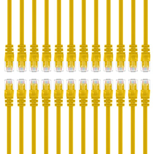 GearIT 24-Pack, Cat5e Ethernet Patch Cable 5 Feet - Snagless RJ45 Computer LAN Network Cord, Yellow - Compatible with 24 48 Port Switch POE Rackmount 24port Gigabit from GearIT