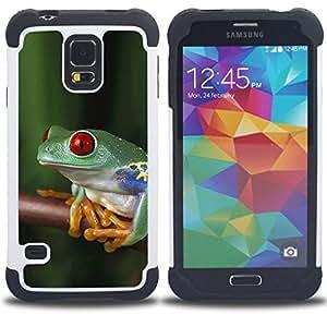 - frog tropical rainforest nature green/ H??brido 3in1 Deluxe Impreso duro Soft Alto Impacto caja de la armadura Defender - SHIMIN CAO - For Samsung Galaxy S5 I9600 G9009 G9008V