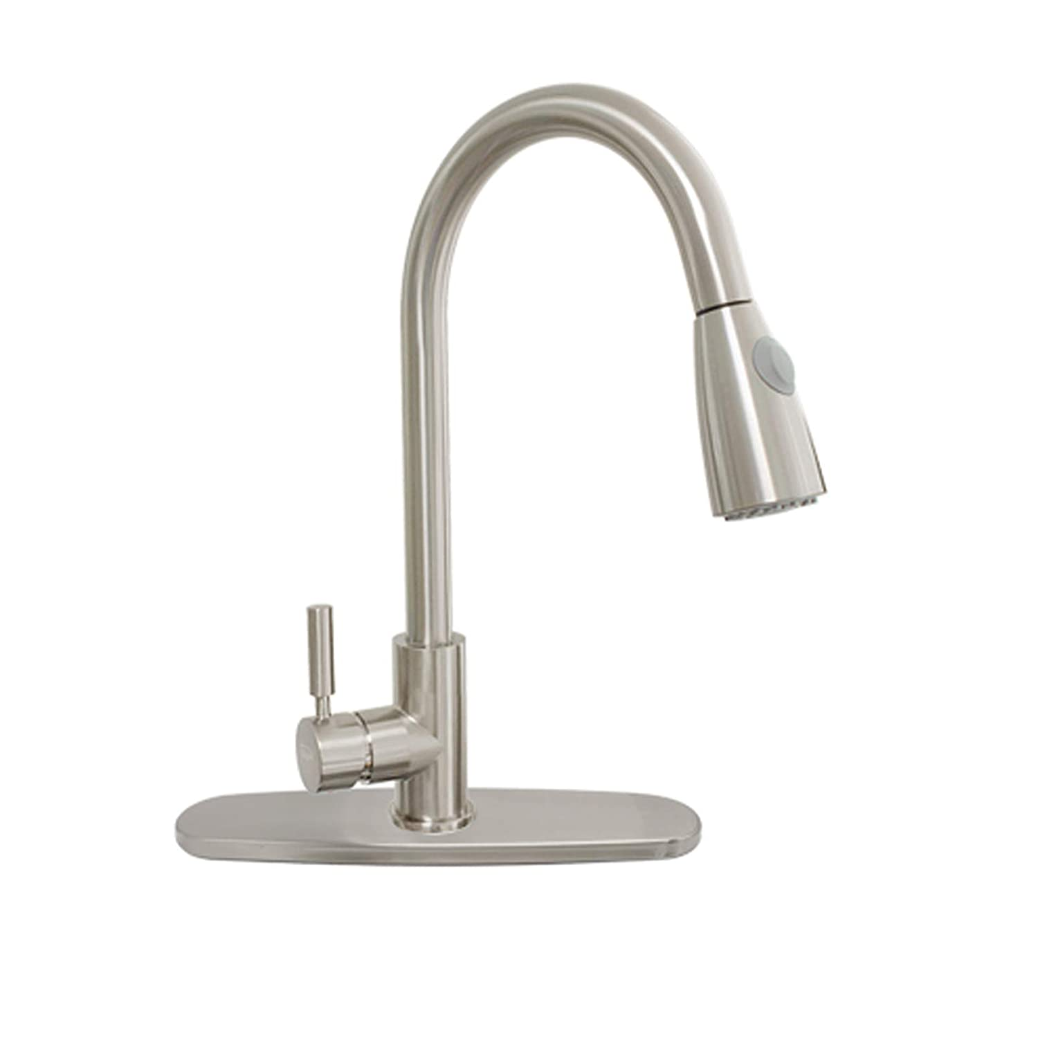 """16"""" Kitchen Faucets with Pull Down Sprayer One-Handle Ceramic Valve Free Two Stainless Steel Hoses 360 Rotation Hot Cold Mixer Stainless Steel Brushed Nickle with 10"""" Escutcheon Plate"""