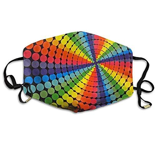 Girdsunp Classic Retro Rainbow Colored Dots Rotating Animation Resist Dirt Breathable Facial Mouth Mask for -