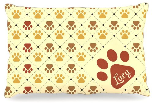 Kess InHouse KESS Original Maggie  Paw Checkered Pattern Name Fleece Dog Bed, 30 by 40-Inch, Red Yellow Tan Brown