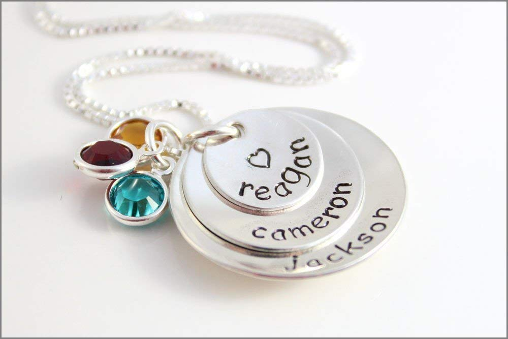 Initial Birthstone Charm Necklace  Stacking Charm Necklace Hand Stamped Necklace Family Necklace Symbol Necklace