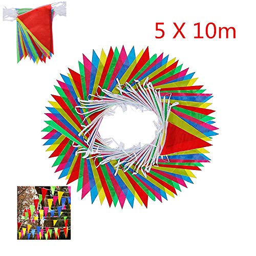 164 Feet Long with 75 Flags Multicolor Bunting Flags Bunting Banner Birthday Party Home Decor Indoor & Outdoor Party Holiday Decoration (5pack x 10m) -