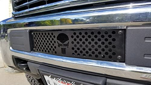 Chevy Silverado 2500 3500 HD Punisher Skull Editon Powder Coated Black Bumper Grille Insert with White Backing Plate Mountains2Metal 2015