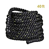 Cheap Blissun Battle Ropes, 1.5'' Width 30/40/50ft Length Training Undulation Rope Fitness Rope Exercise (1.5″ 40ft)