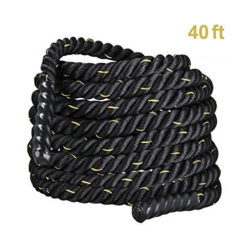 Blissun Battle Ropes, 1.5'' Width 30/40/50ft Length Training Undulation Rope Fitness Rope Exercise (1.5'40ft)