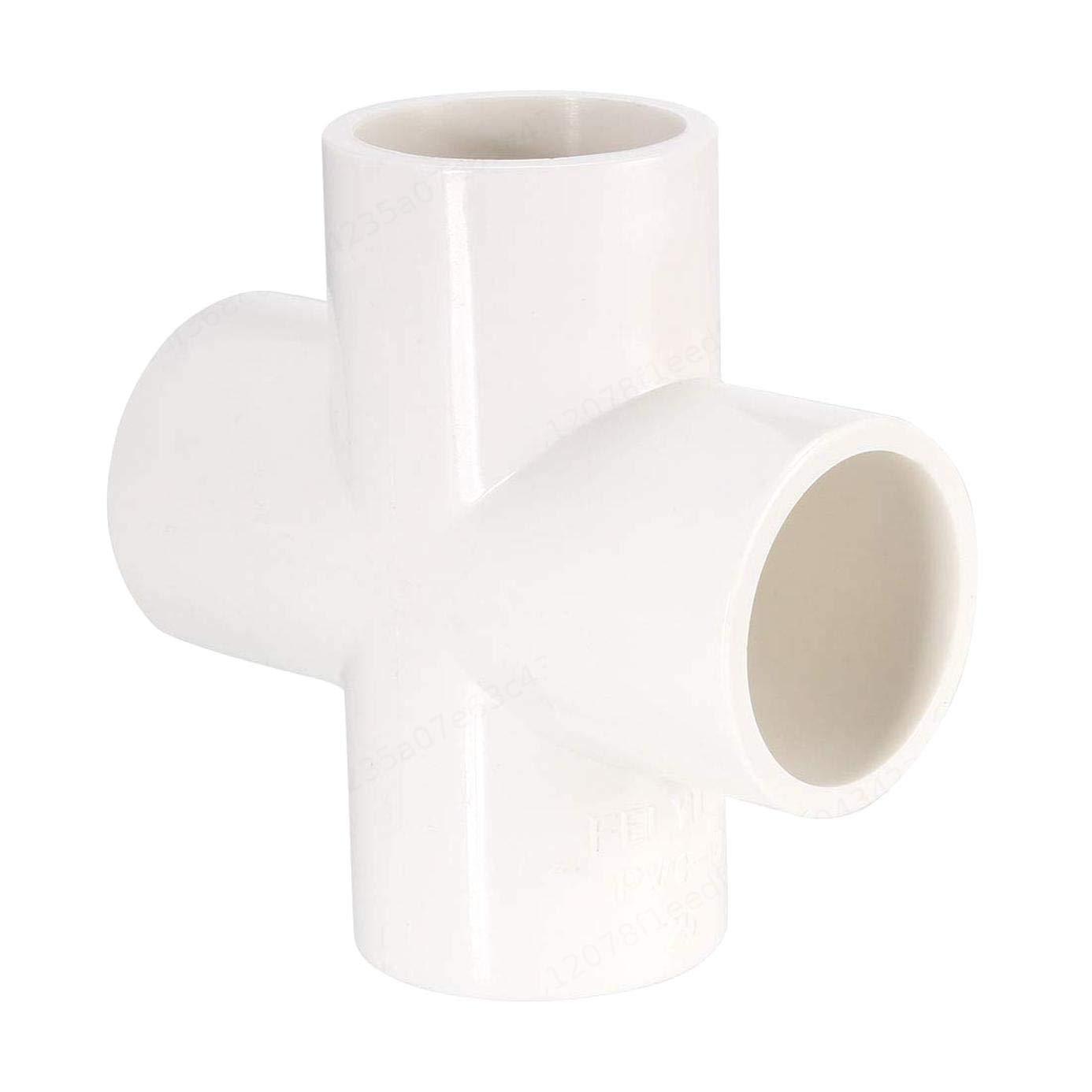 PRINDIY 4 Way Cross Schedule 40 20mm Socket tee Corner Fitting Accesorios de tuber/ía de PVC Blanco