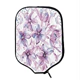 YOLIYANA Flower Durable Racket Cover,Lively Vivid Wildflowers in Bloom with Pastel Baroque Style Ornaments Print for Sandbeach,One Size