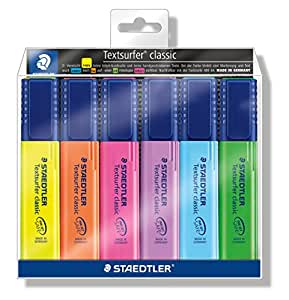Staedtler Textsurfer Classic 364 WP6 - Rotuladores de colores (con bolsa, 6 unidades)