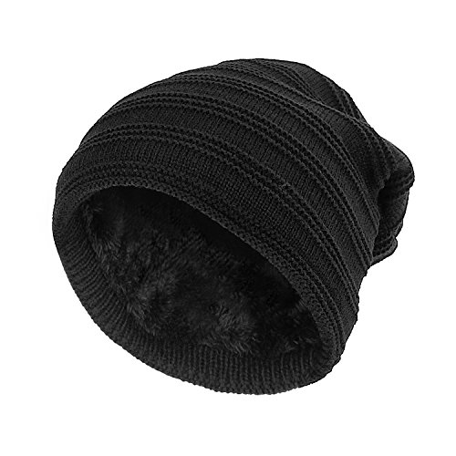 SANDALUP Unisex Trendy Slouchy Beanie Warm Soft Lining Winter Knit Hat Skull Cap With - Hipster Trendy