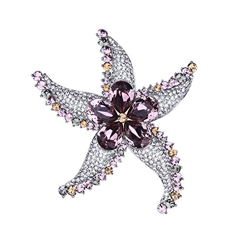 Exquisite Starfish Brooch Pin Swarovski Crystal Rhinestone Brooches for Women Wedding Party Jewelry Gift (Pink) by LIANGZHILIAN