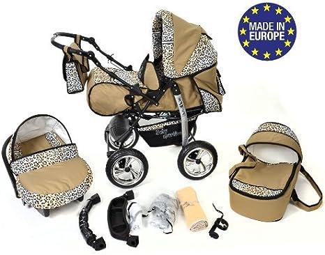 silla de paseo Sistema de viaje 3 en 1 Sistema de viaje 3 en 1, rosado y leopardo RUEDAS EST/ÁTICAS y accesorios carrito con capazo y silla de coche Kamil
