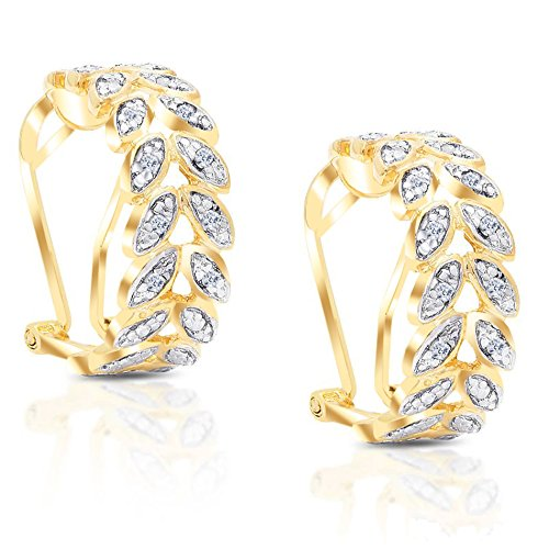 Leaf Design Diamond (Lumineux Diamond Womens Round Diamond Accent Leaf Design Hoop Earrings in Yellow Gold over Brass)