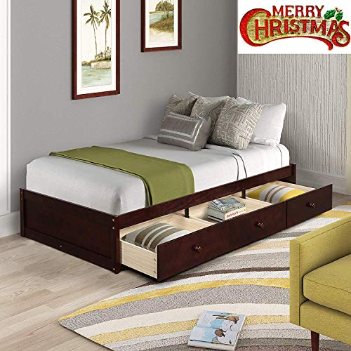 Wood Platform Bed with 3 Drawers, Wood Slat Support, No Box Spring Needed,Twin Size