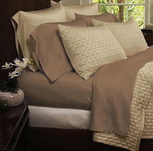 4-Piece Set: Hotel Comfort 1800 Series Organic Bamboo Bed Sheets - Queen - Taupe