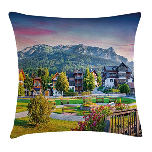 Ambesonne Landscape Throw Pillow Cushion Cover by, Small Village in Austria Summer Flowers Trees Alps Morning Mist Idyllic Scenery, Decorative Square Accent Pillow Case, 24 X 24 Inches, - Dinner Summer Mist