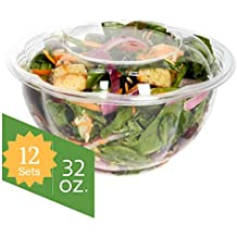 Salad Bowls to go with Lids (12 Pack) - Clear Plastic Disposable Salad Containers   Fresh, Airtight Seal   Rose Bowl Container (32 oz) …