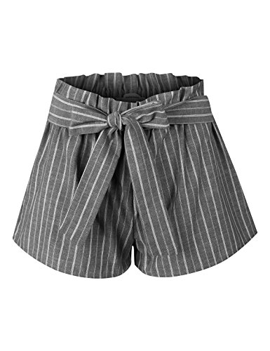 (makeitmint Women's Pin Stripe Elastic High Waist Pocket Shorts w/Front Tie Belt YBS0017-BLACK-SML)