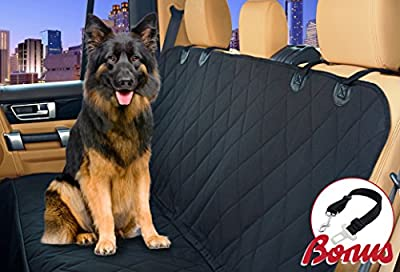 Car Seat Cover for Dog. Fits Auto, SUV and Truck - Hammock Mode, Waterproof, Stay in Place Anchors & Velcro Seat Belt Opening. Rich Black, Oxford Nonslip Backing. Bonus: Seat Belt Included