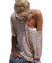 Women's Off Shoulder Sequin Party Top